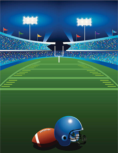 Football Game at Night Football, football helmet, and stadium line of scrimmage stock illustrations