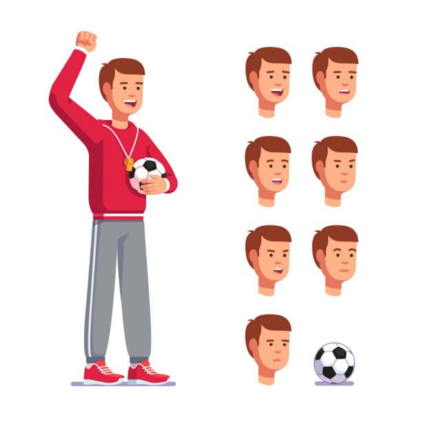 Homem de jogo de treinador de futebol com bola de futebol aplaudindo de pé. Coleção de modelo do treinador emoções cabeças. Estilo simples vector clipart - ilustração de arte em vetor