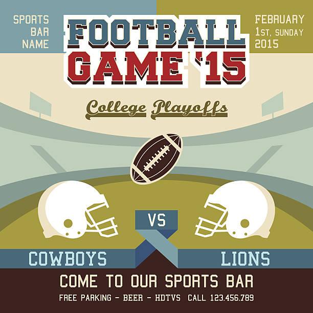 ilustrações de stock, clip art, desenhos animados e ícones de jogo de futebol do colégio playoffs - primeiro down futebol americano