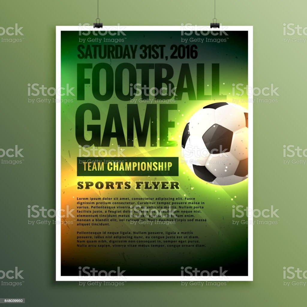 Fussball Spiel Flyer Designkarte Einladung Vorlage Stock