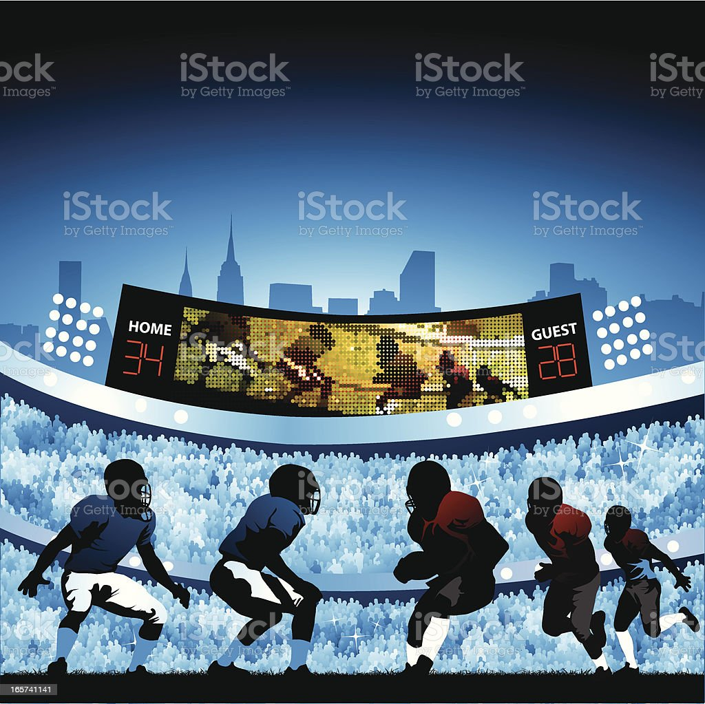 Football game in packed stadium royalty-free football game in packed stadium stock vector art & more images of activity