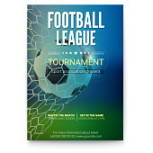 Football game match goal moment with ball in the net, mesh. Game ball in time of goal. Poster for football or soccer games, tournaments, championships, banners and invitations 3D illustration