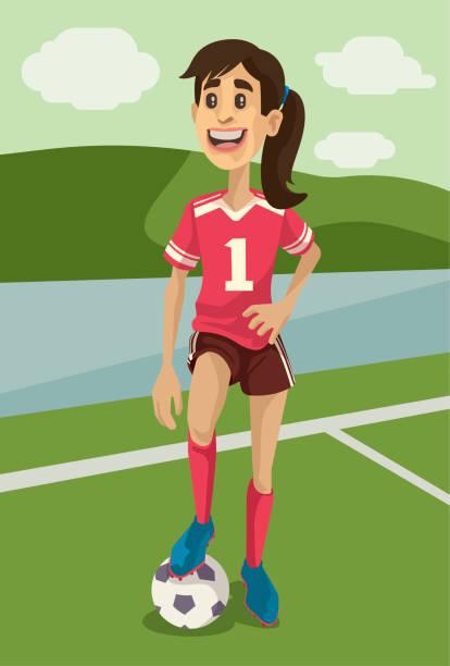 Football Girl vector art illustration