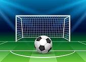 Football goal with soccer ball. Stadium goal post penalty kick, vector soccer gate on football field with net at night