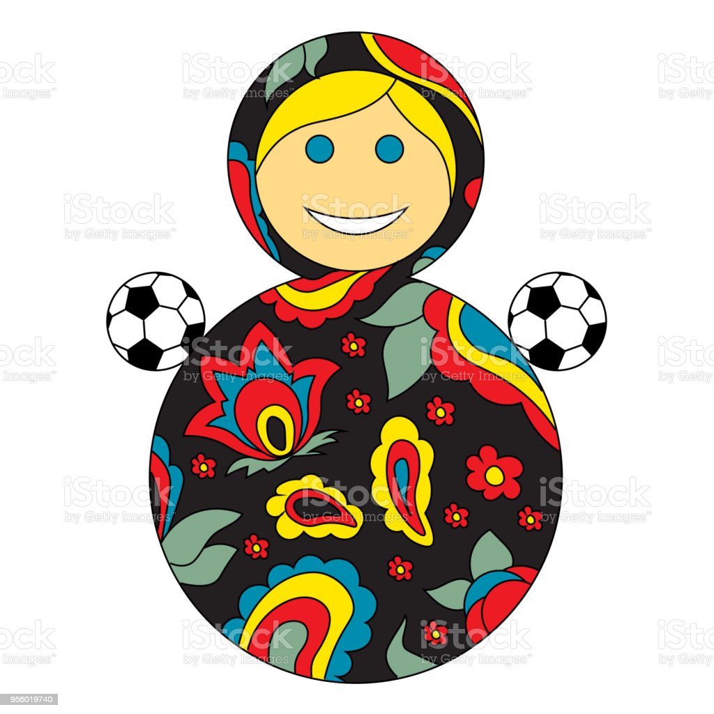 Football goes to Russia. Soccer ball and Russian children\'s toy