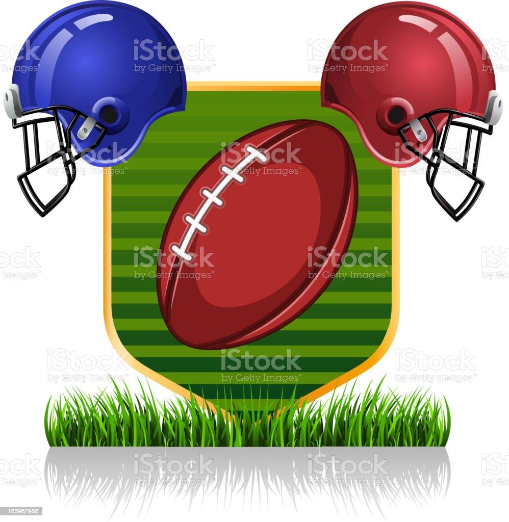 Football grass helmet vector art illustration