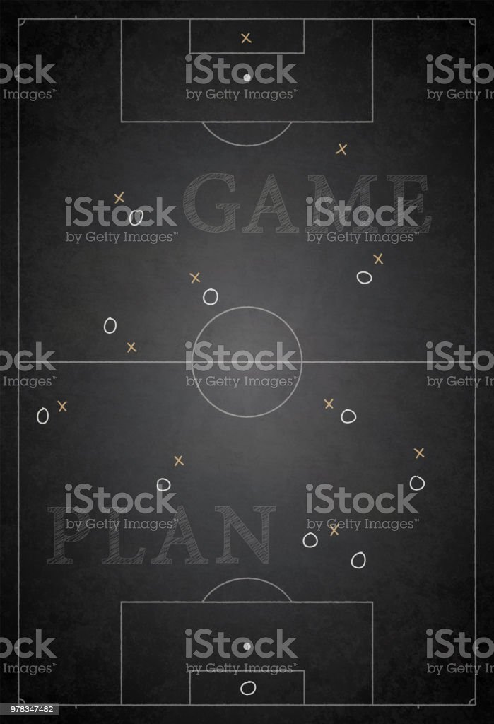 Football ground / field vector illustration of game plan