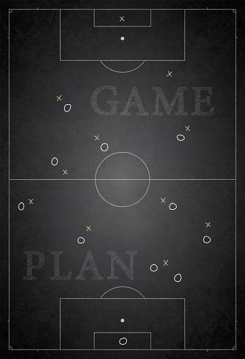 Football ground / field vector illustration of game plan