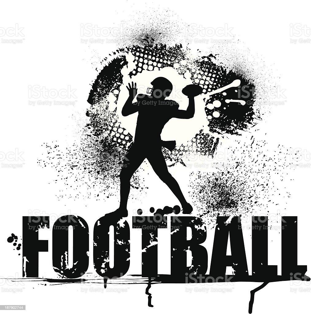Football Grunge Graphic - Quarterback royalty-free stock vector art