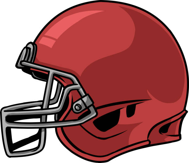 Football helmet 01 The illustration shows a football helmet. The helmet is red and it looks like a mask to protect the top, sides and back of the head of the football player. football helmet stock illustrations