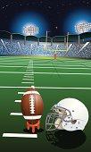Football Helmet and Ball under the Stadium Lights