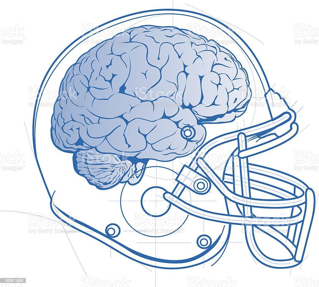 Football Helmet and Brain royalty-free football helmet and brain stock vector art & more images of american football - ball