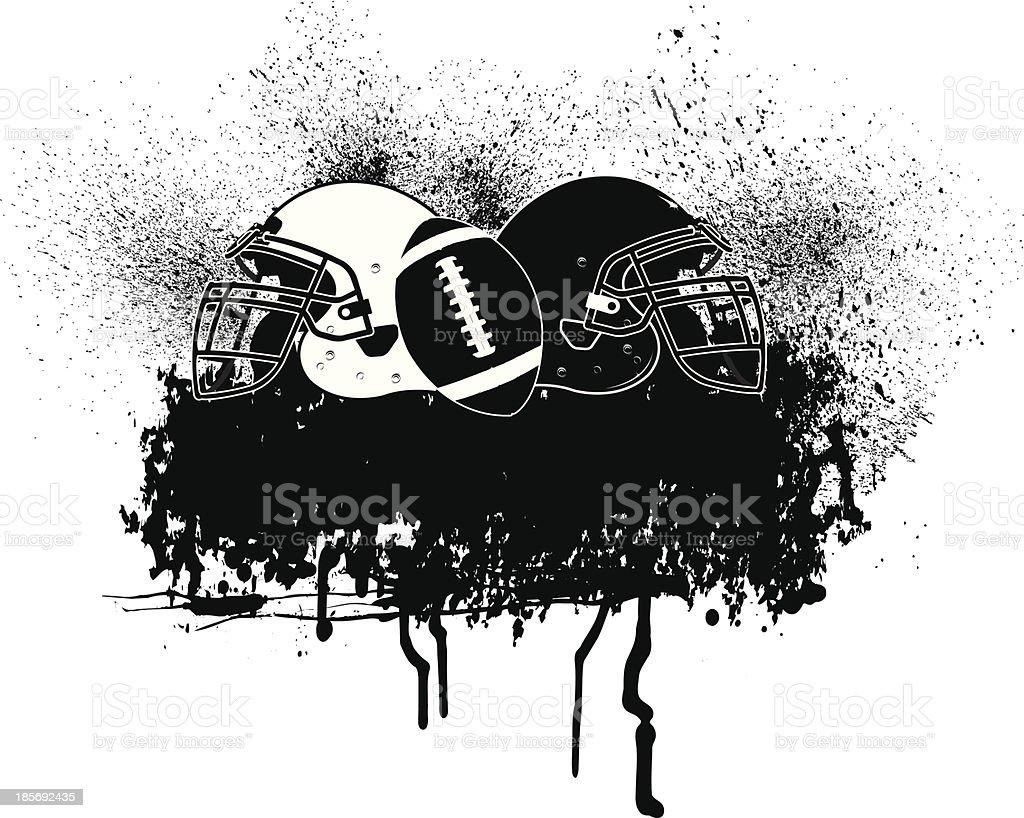 Football Helmet Grunge Graphic vector art illustration