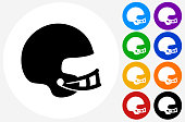 Football Helmet Icon on Flat Color Circle Buttons