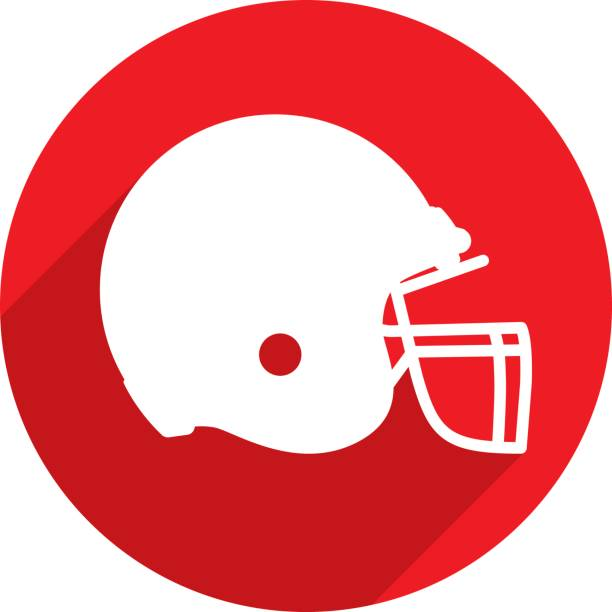 Football Helmet Icon Silhouette Vector illustration of a red football helmet icon in flat style. football helmet stock illustrations