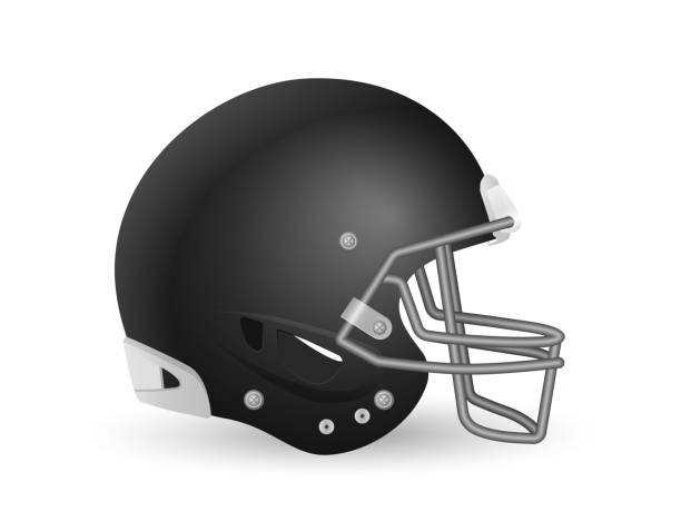 Football helmet Football helmet on a white background. Vector illustration. football lineman stock illustrations