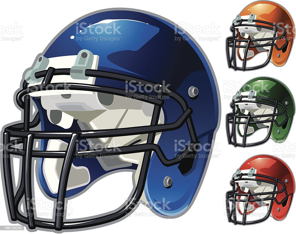 This vector illustration of different team colored helmets is an...