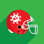 Vector illustration of a red football helmet with virus icon against a green background in flat style.