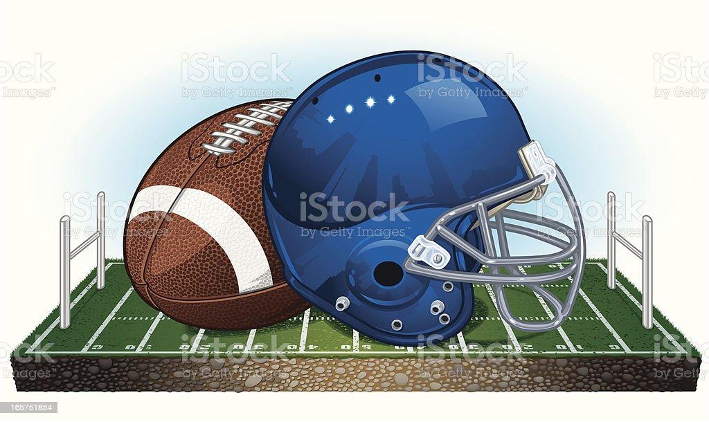 Football Helmet with Ball on Field royalty-free stock vector art