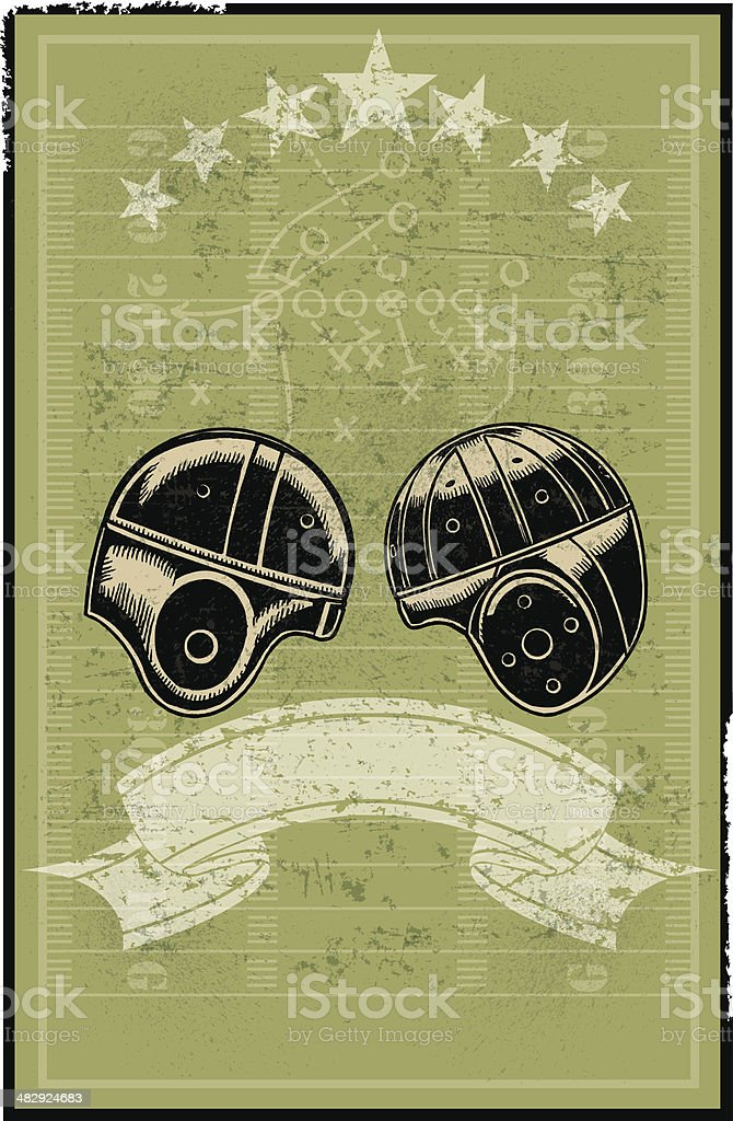 Football Helmets, Field, Banner Retro Background