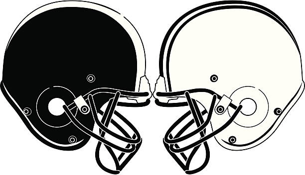 Football Helmets Smashing BW A black and white vector illustration of two football helmets smashing together. football helmet stock illustrations