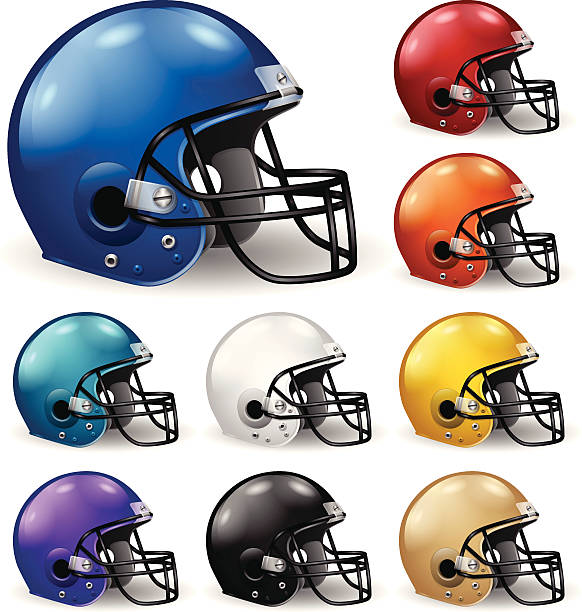 Football Helmets Detailed football helmets in various colors. EPS 10 file. Transparency used on highlight elements. football helmet stock illustrations