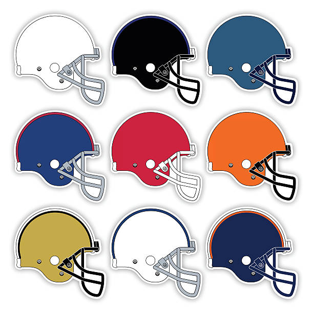 Football Helmets Colorful American football helmets with space for your copy. EPS 10 file. Transparency effects used on highlight elements. football helmet stock illustrations