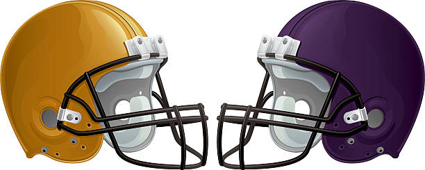 football helmets - high school sports stock illustrations