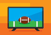 Vector illustration of a high definition television with american football against an orange background in flat style.