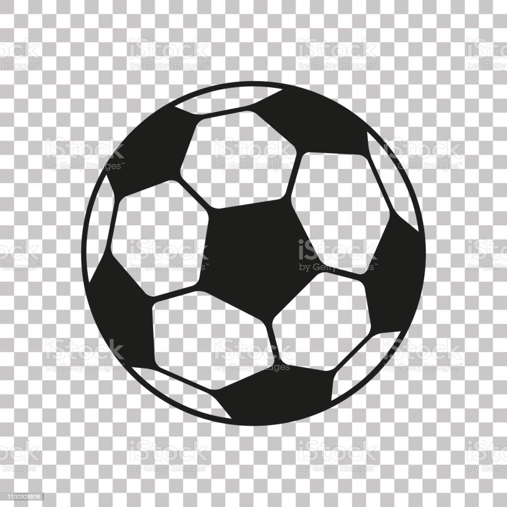 Voetbal icoon in platte stijl. Vector Soccer Ball op transparante achtergrond. Sport object voor u design projecten - Royalty-free Abstract vectorkunst