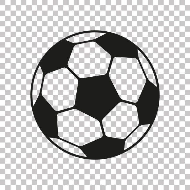 football icon in flat style. vector soccer ball on transparent background . sport object for you design projects - footbal stock illustrations