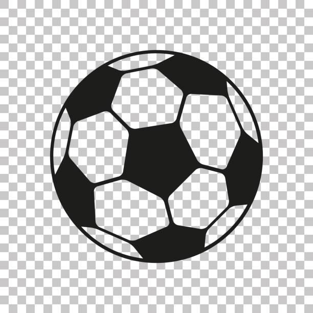 düz tarzda futbol simgesi. vektör futbol topu şeffaf arka planda. tasarım projeleri için spor nesnesi - football stock illustrations