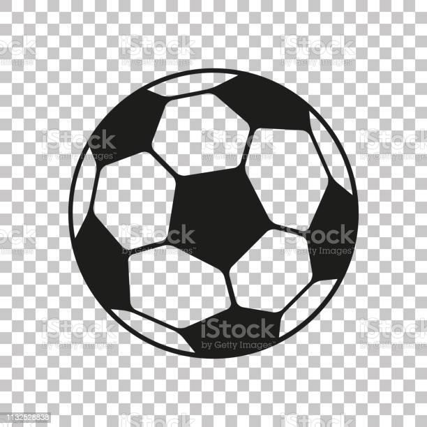 Voetbal Icoon In Platte Stijl Vector Soccer Ball Op Transparante Achtergrond Sport Object Voor U Design Projecten Stockvectorkunst en meer beelden van Abstract