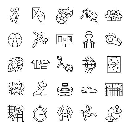 Football, icon set. Soccer. Kicking a ball, team, rule, goal, players, etc linear icons. Editable stroke