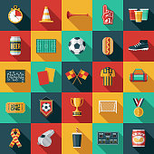 A set of football (soccer) icons. File is built in the CMYK color space for optimal printing. Color swatches are global so it's easy to edit and change the colors.
