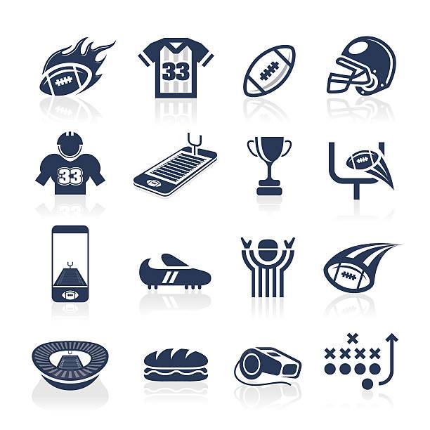 ilustrações de stock, clip art, desenhos animados e ícones de conjunto de ícones de futebol - primeiro down futebol americano
