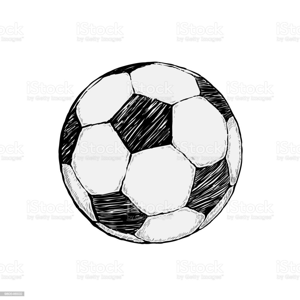 Football icon sketch or soccer drawing in doodles style hand drawn in minimalism