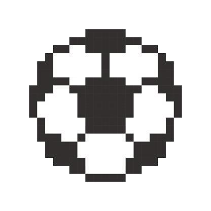 Football Icon Soccerball Pixel Art Cartoon Retro Game Style
