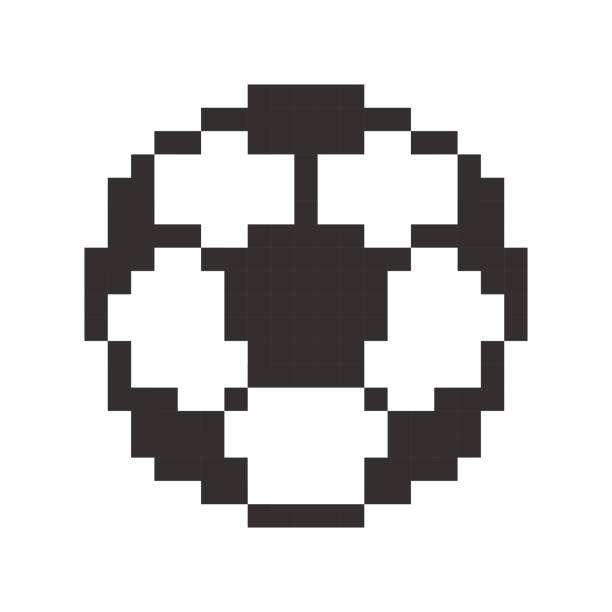 Football icon, soccerball pixel art cartoon retro game style vector art illustration