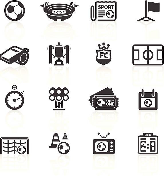 illustrazioni stock, clip art, cartoni animati e icone di tendenza di calcio icone set 1 - fischietto