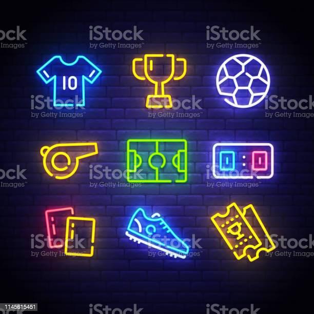 Football icons set soccer neon sign bright signboard light banner vector id1145615451?b=1&k=6&m=1145615451&s=612x612&h=p9nckvaapvyt2ywnxgfffugjxipgo2juh2yfv53lxc4=