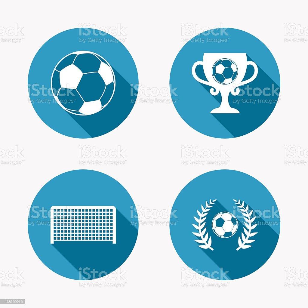 Football icons. Soccer ball sport sign. Goalkeeper gate symbol....