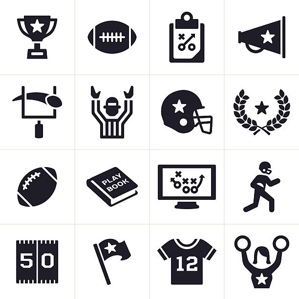 Football Icons Football symbols and icons. american football uniform stock illustrations