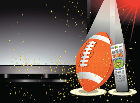 Football In Front of TV Screen with Remote Control Vector