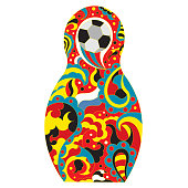 Football in Russia. National toy matryoshka and soccer ball