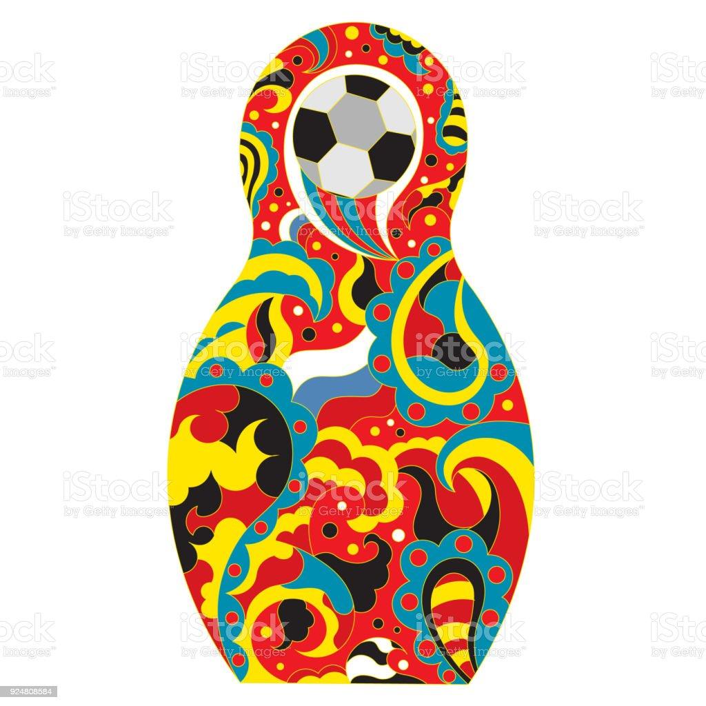Football in Russia. National toy matryoshka and soccer ball vector art illustration
