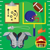 Vector illustration of a set of football items in flat style. Includes: football, football helmets, clipboard, shoulder pads, field goal post, football tee, and whistle.