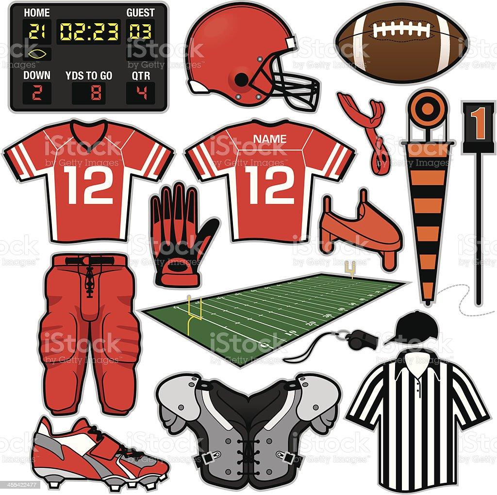 Football Items vector art illustration