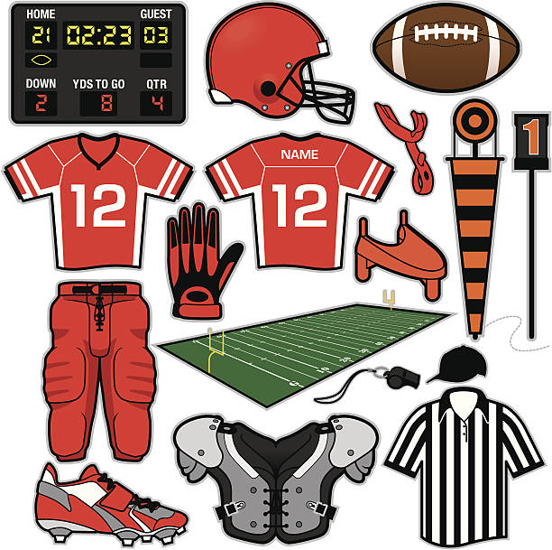 Football Items Items/equipment used for American Football. File is organized into layers and download includes: EPS, JPG, EPS formats. american football uniform stock illustrations