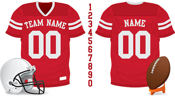 Football Jersey, Ball and Helmet Football Jersey, Ball and Helmet american football uniform stock illustrations